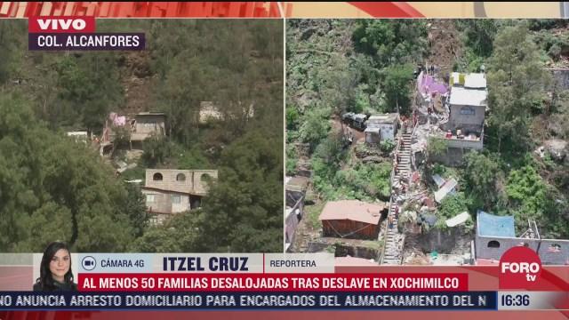desalojan a 50 familias en xochimilco tras deslave