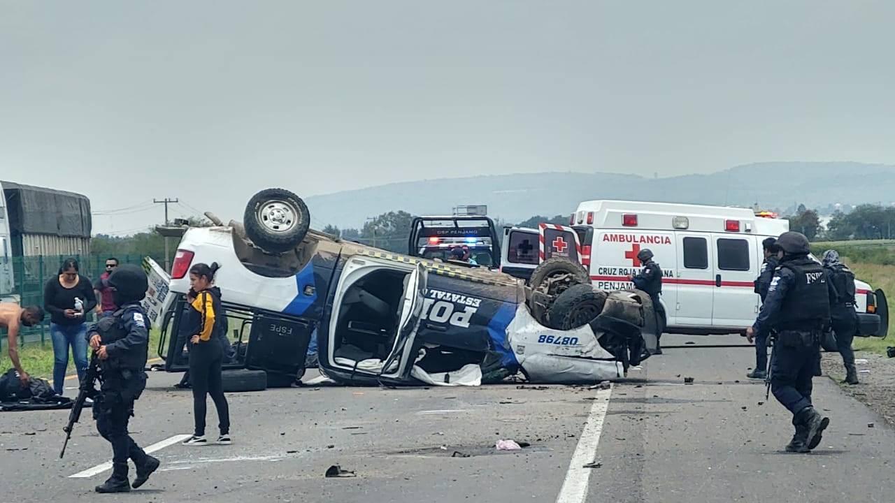 Mueren cuatro policías en accidente de patrulla en Guanajuato