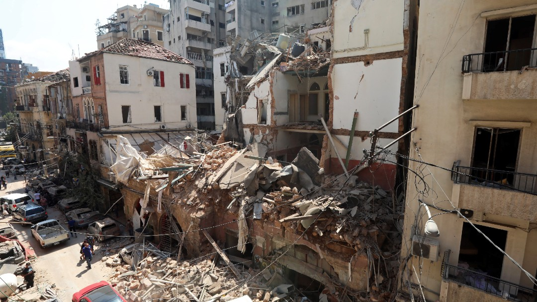 Escombros en Beirut, tras explosión