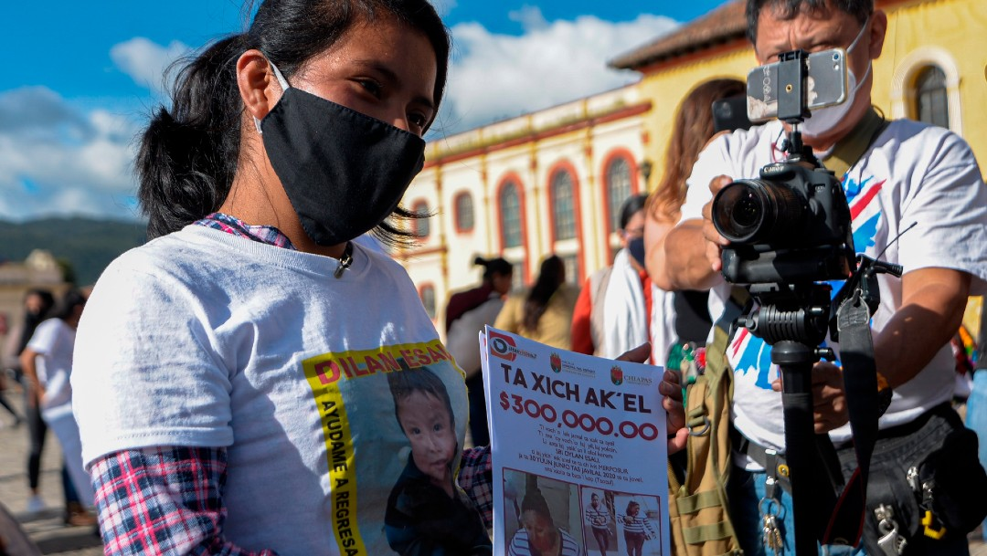 Familiares del bebé Dylan marchan en San Cristóbal, Chiapas; exigen su localización