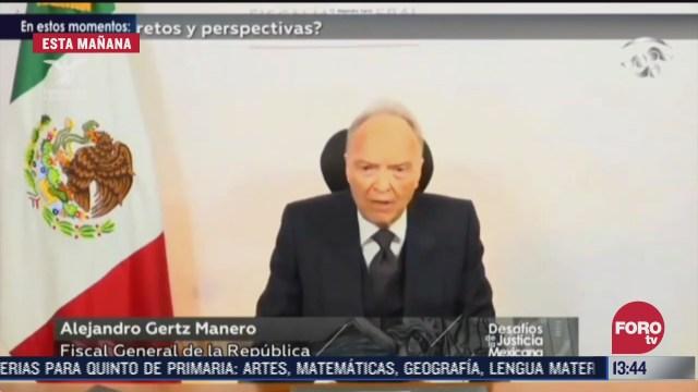 Alejandro Gertz Manero, fiscal general de la República brinda discurso en en el primer encuentro nacional digital 'Desafíos de la justicia mexicana'