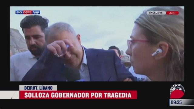 gobernador de beirut rompe en llanto tras la explosion