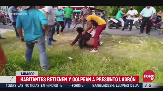 habitantes en tabasco retienen y golpean a presunto ladron de motocicletas