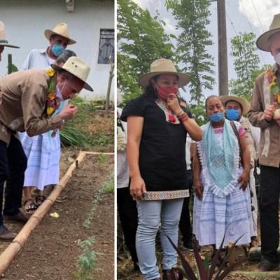 Video: Captan a López-Gatell comiendo plantas medicinales en visita a Cuetzalan, Puebla