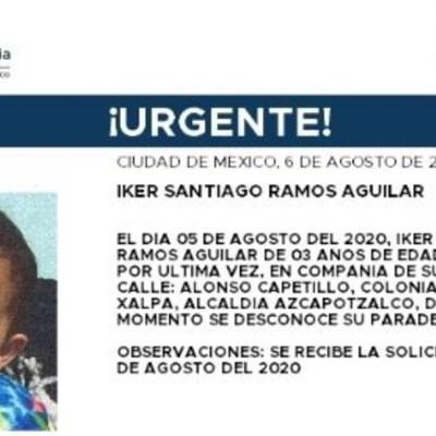 Activan Alerta Amber para localizar a Activan Alerta Amber para localizar a Iker Santiago Ramos Aguilar.