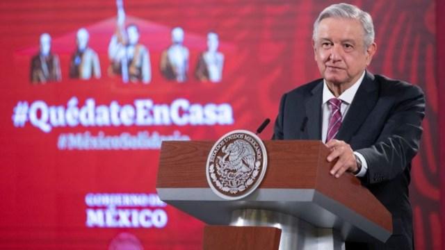 López Obrador en Palacio Nacional, durante conferencia matutina