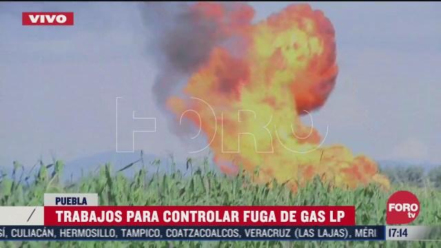 pemex y pc trabajan para controlar fuga de gas lp en puebla