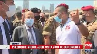 presidente de libano visita la zona de la explosion de beirut