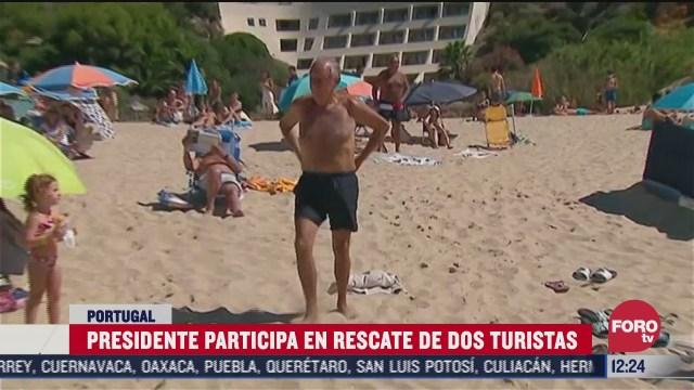 presidente de portugal marcelo rebelo de sousa ayuda a recatar a banistas