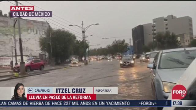 reportan encharcamientos por lluvia en zona centro de cdmx