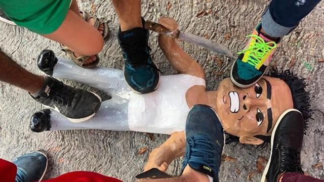 Crean piñata de ladrón de la combi en Tamaulipas