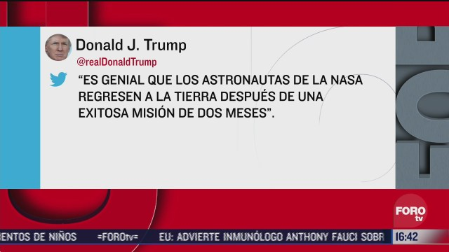 trump destaca regreso de astronautas de la nasa