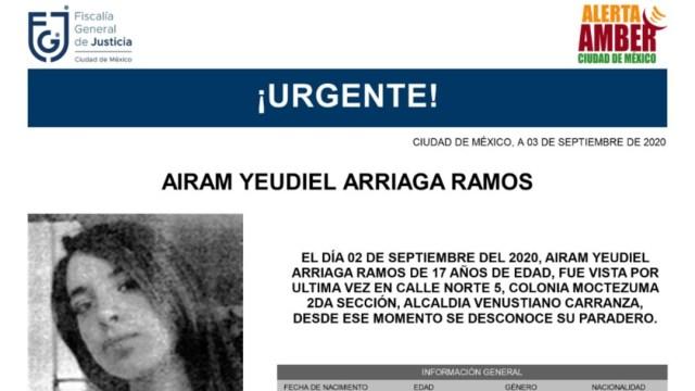 Activan Alerta Amber para localizar a Airam Yeudiel Arriaga Ramos