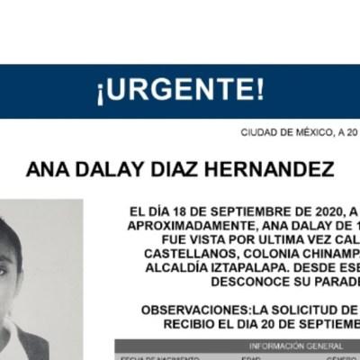 Activan Alerta Amber para localizar a Ana Dalay Díaz Hernández