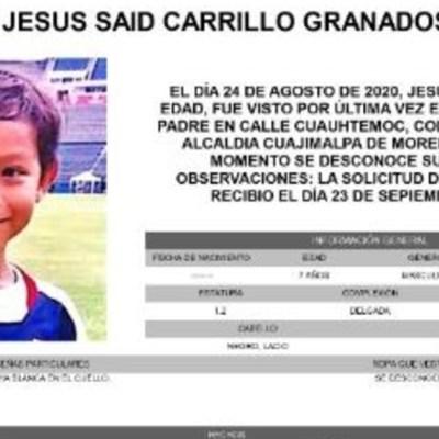 Activan Alerta Amber para localizar a Jesús Said Carrillo Granados
