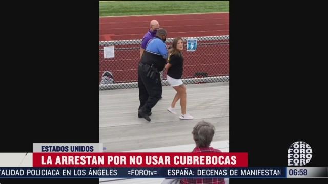 arrestan a mujer por no usar cubrebocas en estados unidos