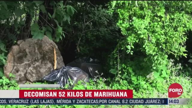 aseguran 52 kilos de marihuana en jalisco