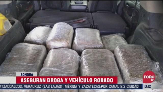 aseguran droga y camioneta robada en sonora