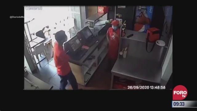 captan en video asalto a pizzeria en cuernavaca