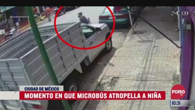 captan momento en que microbus atropella a nina en cdmx