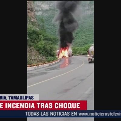 Choca pipa y se incendia en Tamaulipas