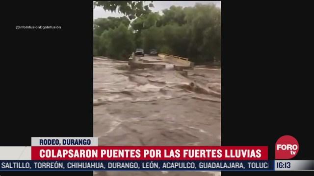 colapsan puentes por lluvias en durango