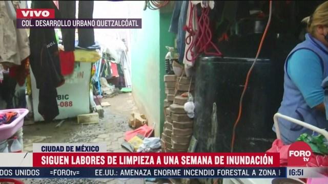 continuan trabajos de limpieza tras inundacion en iztapalapa