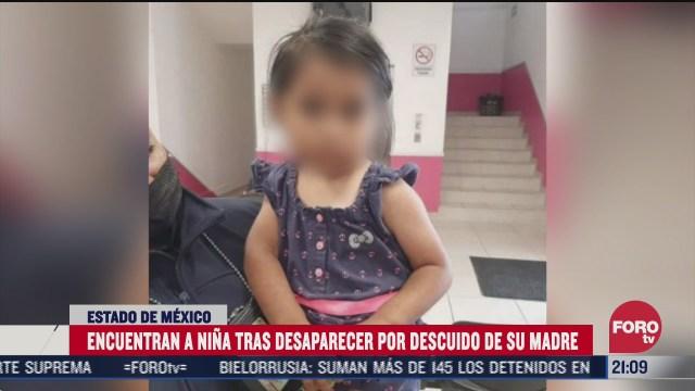 encuentran a nina desaparecida tras el descuido de su madre