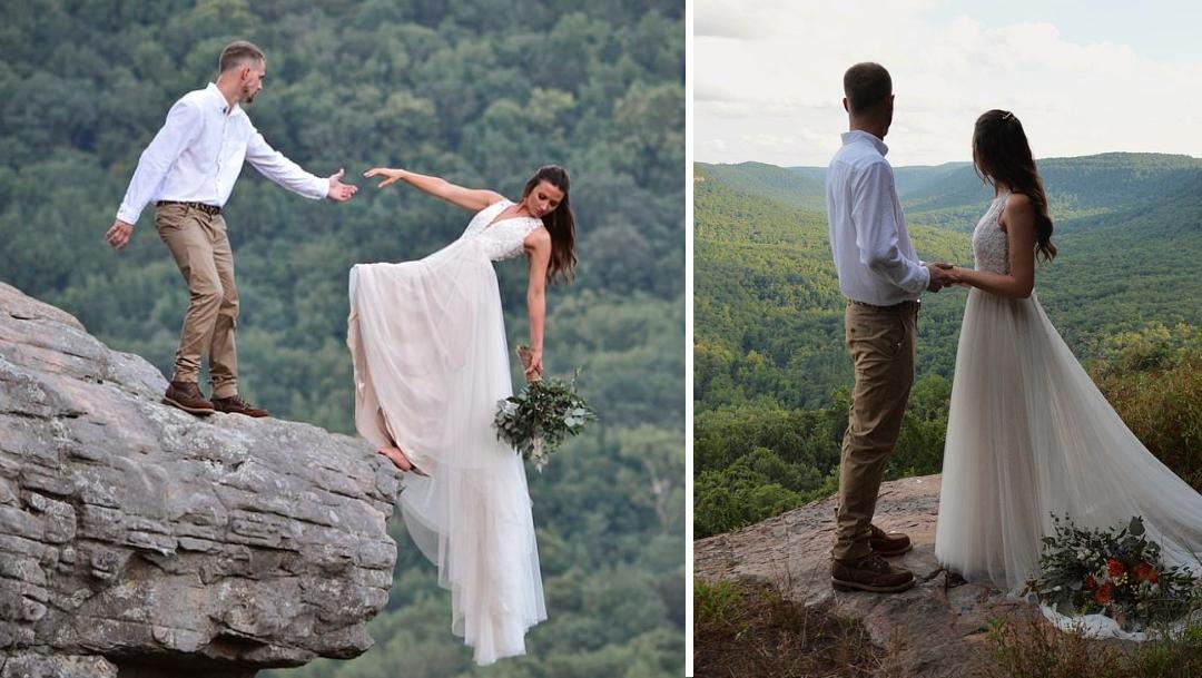 Novios celebran boda con arriesgada sesión de fotos