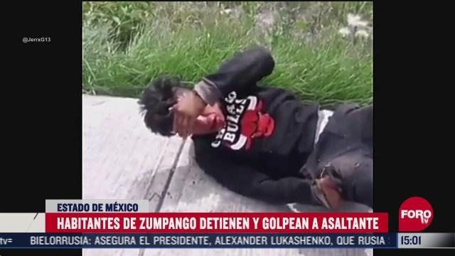 habitantes detienen y golpean a ladron en zumpango