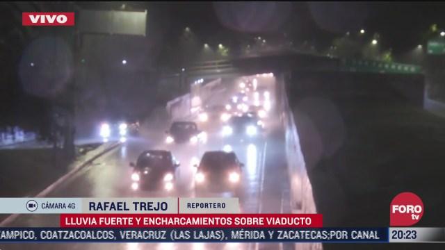 lluvia provoca encharcamientos en viaducto cdmx