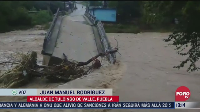 lluvias colapsan puentes en puebla