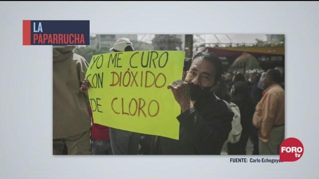 manifestaciones contra el cubrebocas y a favor del dioxido de cloro contra el covid 19 la paparrucha del dia