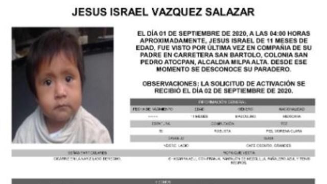 Activan Alerta Amber para localizar a Jesús Israel Vázquez Salazar