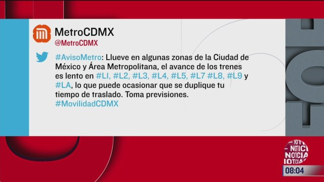 metro cdmx con servicio lento por lluvias