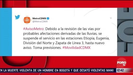 metros suspende servicio en cuatro estaciones por afectaciones tras lluvias