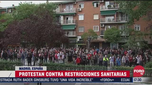 protestan en madrid contra restricciones por covid