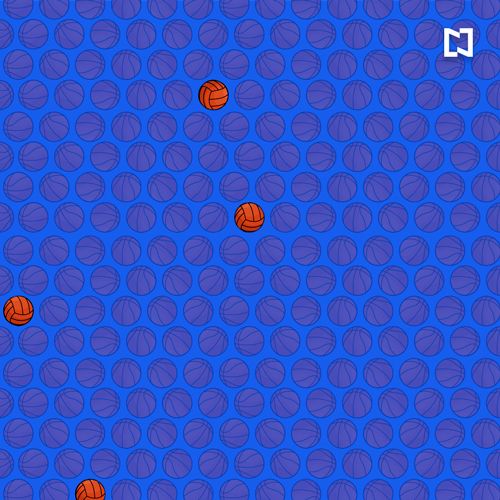 Respuesta al reto visual y encuentra los balones de voleibol entre los de basquetbol, ilustración