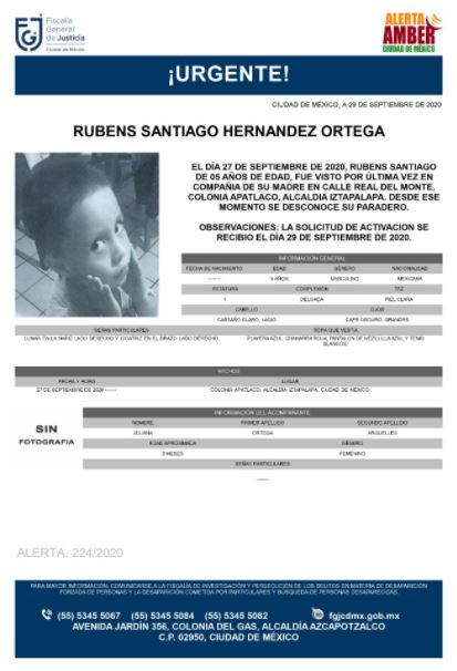Activan Alerta Amber para localizar a Rubens Santiago Hernández Ortega
