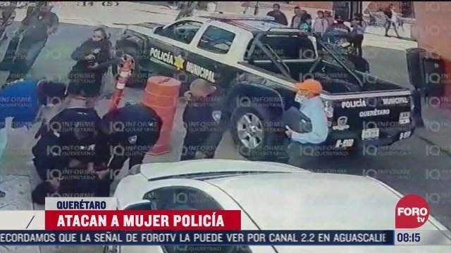 sujeto ataca con cuchillo a mujer policia en centro historico de queretaro