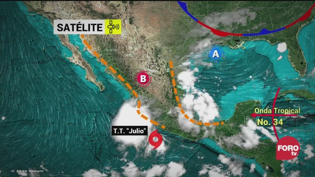 tormenta tropical julio se desplaza en costas del pacifico