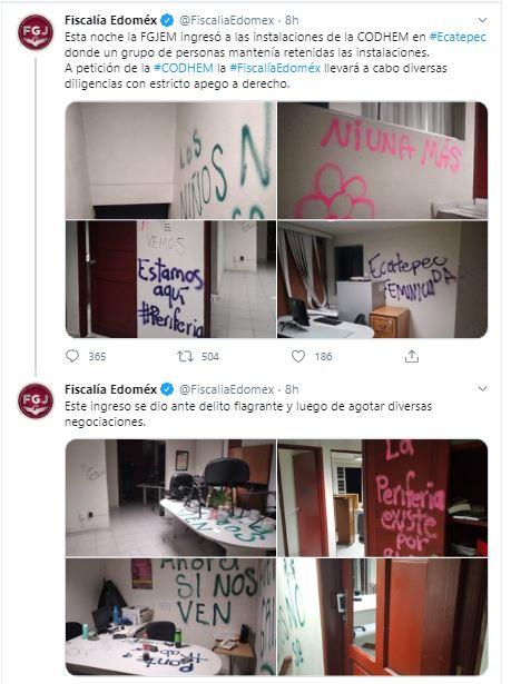 Tweets de la Fiscalía General de Justicia del Estado de México.