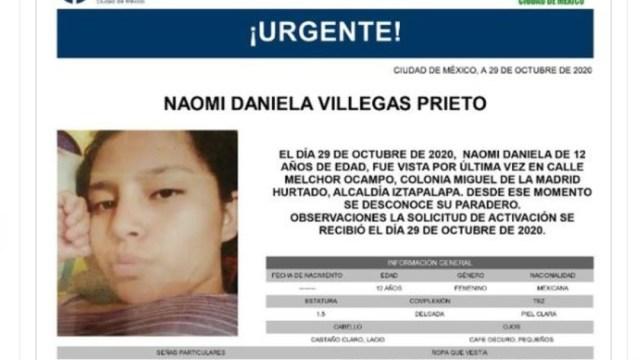 Activan Alerta Amber para localizar a Naomi Daniela Villegas Prieto