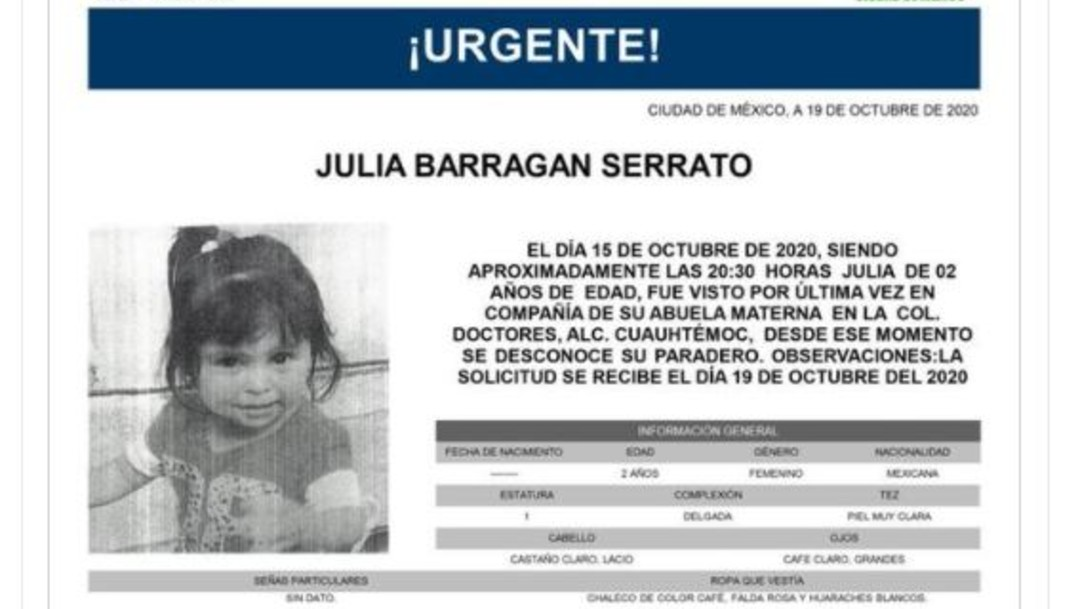 Alerta Amber para Julia Barragan Serrato