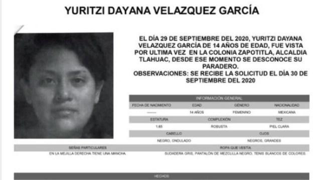 Activan Alerta Amber para localizar a Yuritzi Dayana Velázquez García