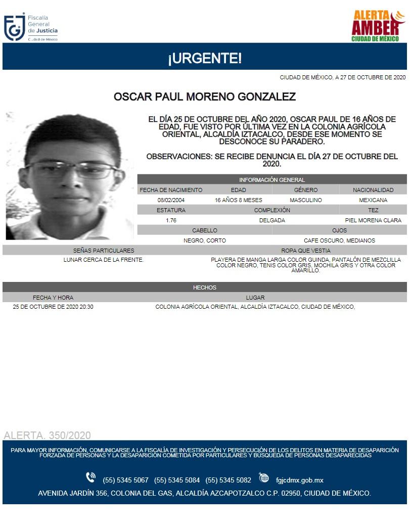 Activan Alerta Amber para localizar a Oscar Paul Moreno González