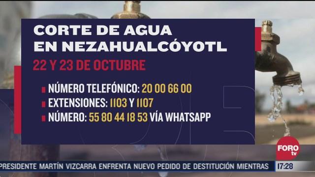 anuncian corte de agua en nezahualcoyotl estado de mexico