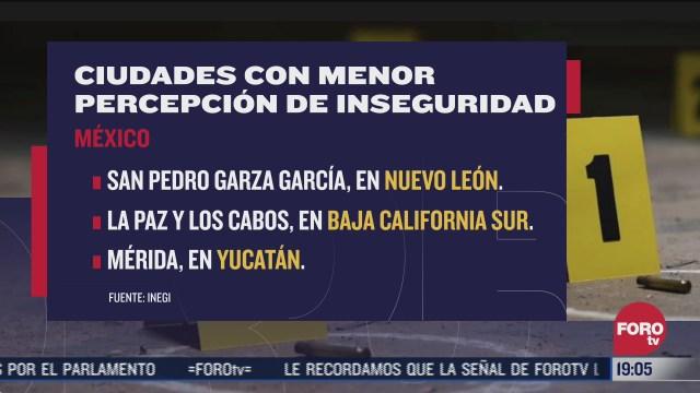 baja percepcion de inseguridad en mexico inegi