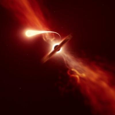 Este video muestra cómo un agujero negro succiona una estrella cercana
