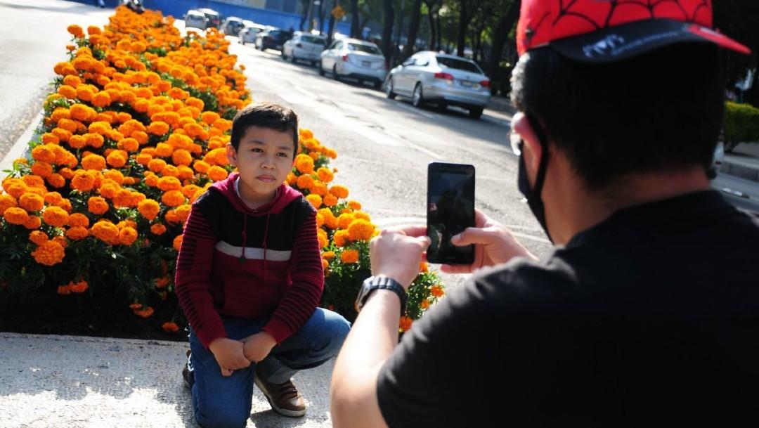 Capitalinos disfrutan de las flores de cempasúchil